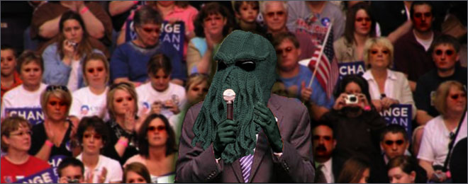 Cthulhu addressing Arkham crowd at Miskatonic University