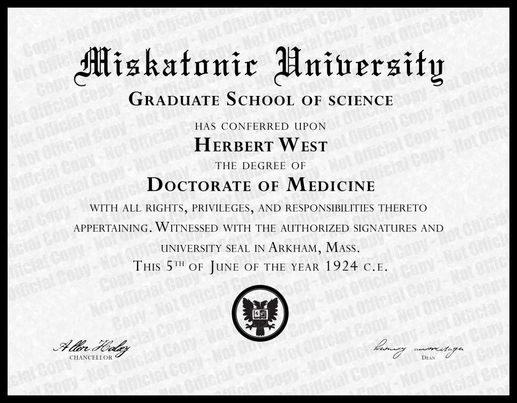 Duplicate copy - Dr Hertbert West Diploma